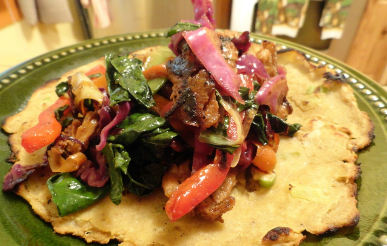 Vegan Grain-Free tortilla with grilled vegetables