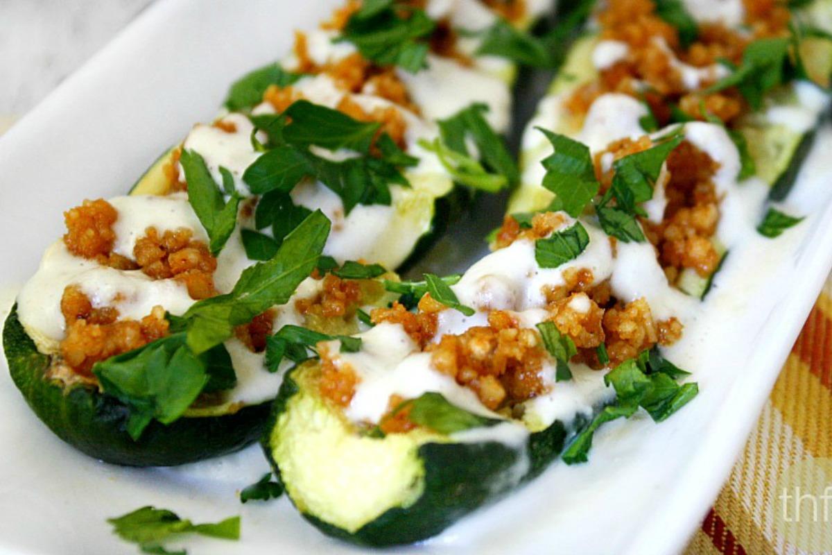Clean Eating Zucchini Boats with Creamy Garlic Sauce [Vegan, Raw, Gluten-Free]