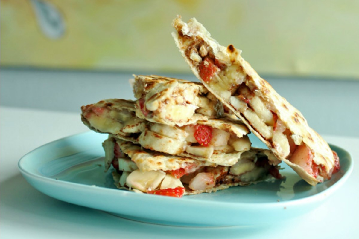Banana Strawberry quesadillas