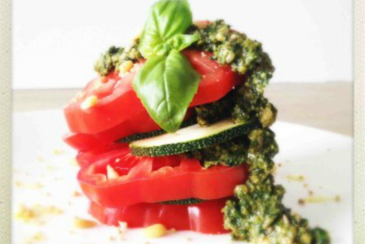 Heirloom Tomato Pesto Stack [Vegan, Raw, Gluten-Free]
