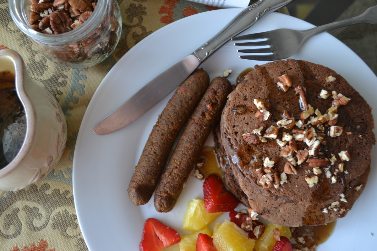 Mocha Spice Pancakes With Simple Syrup