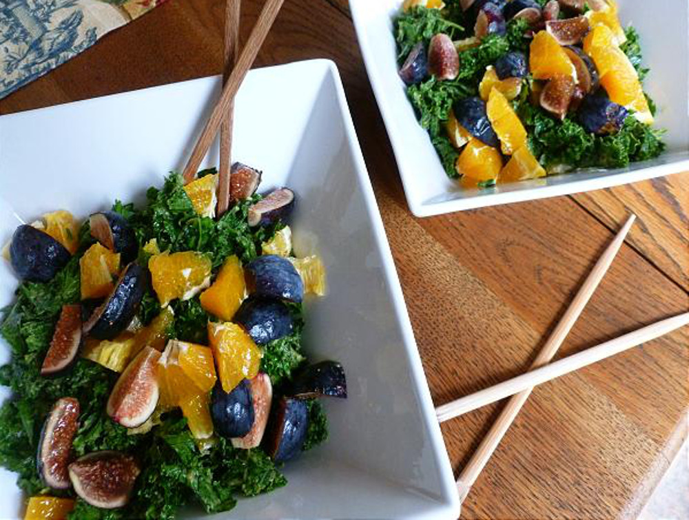 raw kale salad with figs and clementines