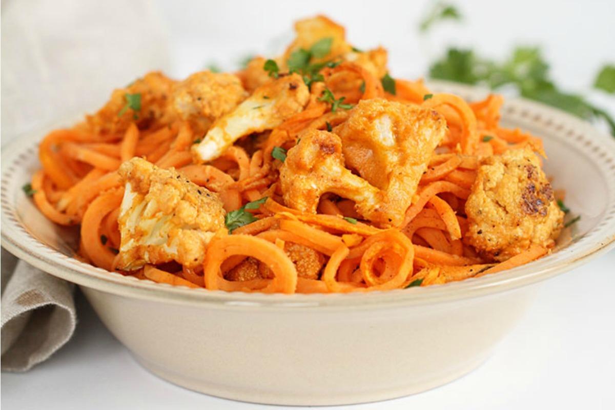 Vegan Buffalo Cauliflower With Sweet Potato Noodles [Gluten-Free]