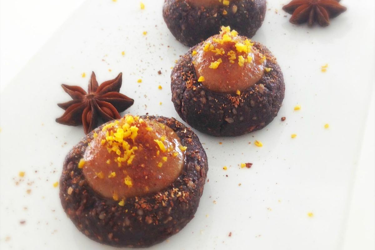 "Mini ""Nutella"" Donuts With Salted Coffee Caramel [Vegan, Raw, Gluten-Free]"