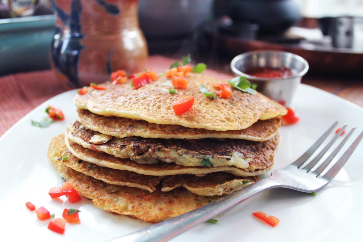 Potato Leek Hash Brown Pancakes with Homemade Ketchup [Vegan]