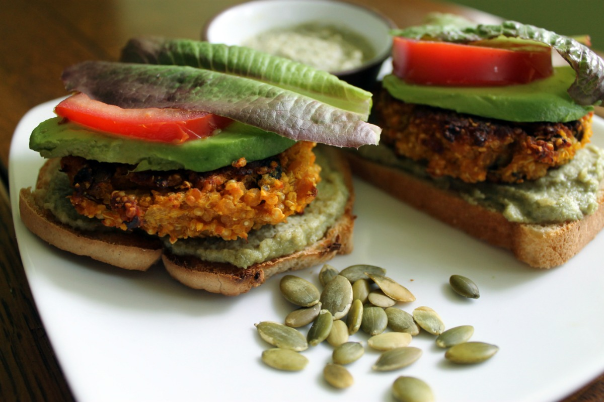 Best Quinoa Veggie Burgers and Pumpkin Seed-Onion Cream [Vegan, Gluten-Free]