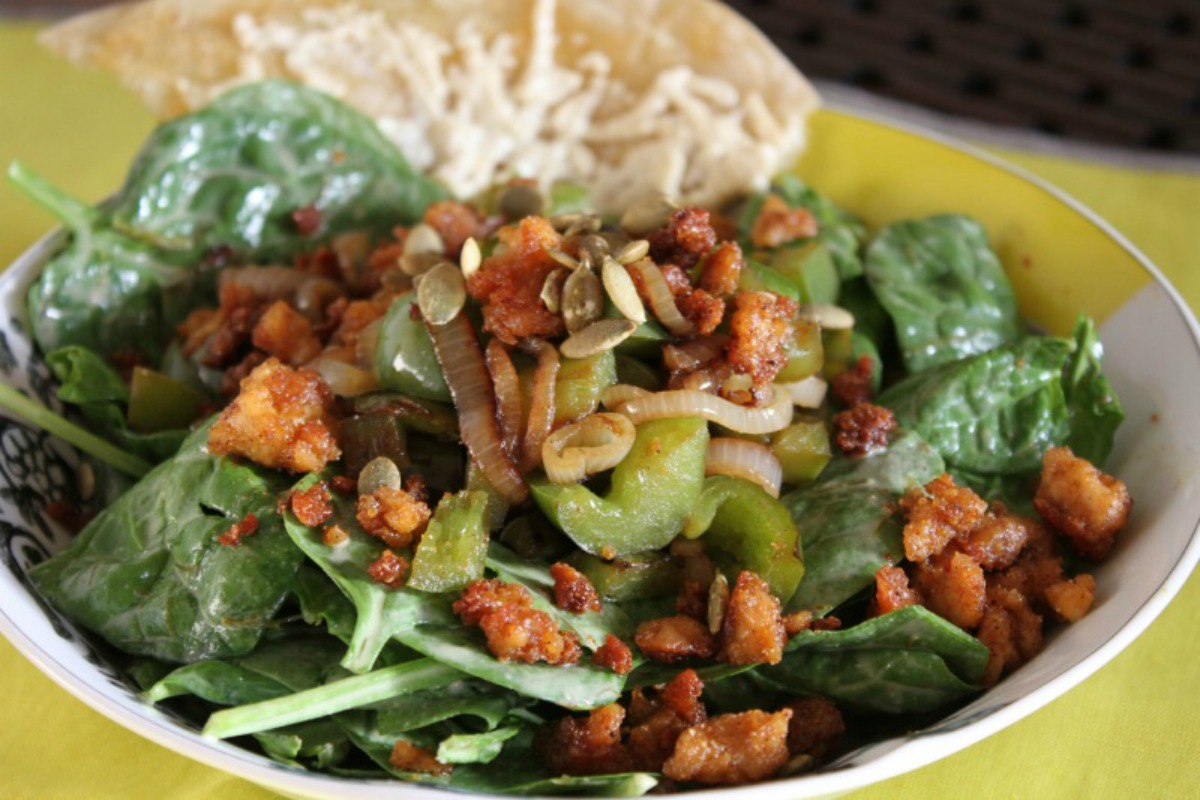 Buttery Spinach Salad With Crumbled Tempeh and Crispy Shallots [Vegan, Gluten-Free]