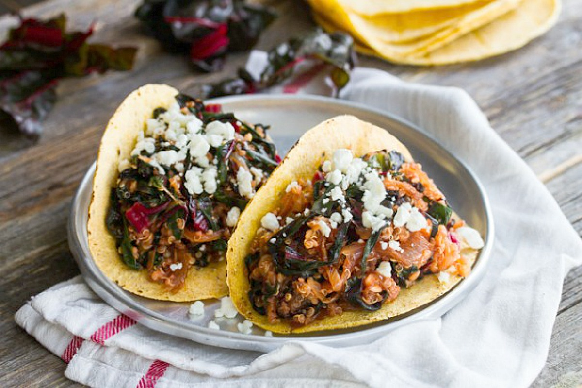 Kale, Caramelized Onion and Quinoa Tacos [Vegan, Gluten-Free]