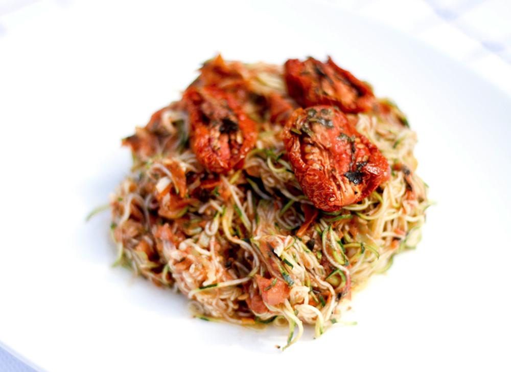 Raw Vegan Zucchini Marinara Pasta