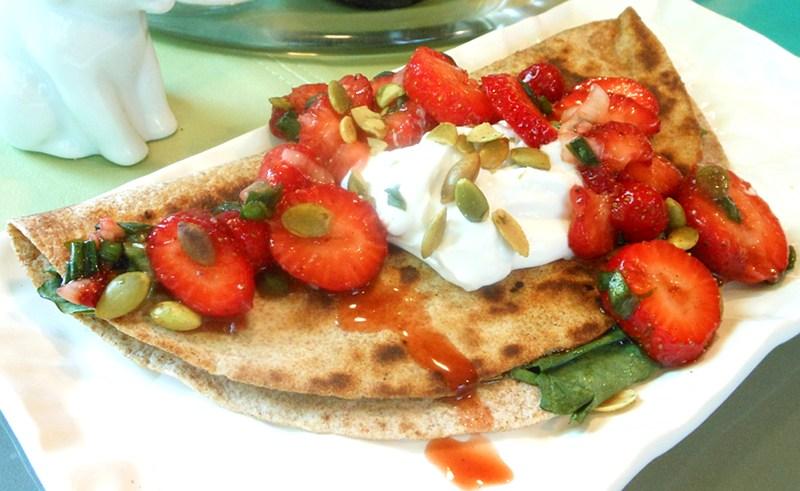 Spinach Quesadillas with Fresh Strawberry Spring Onion Salsa