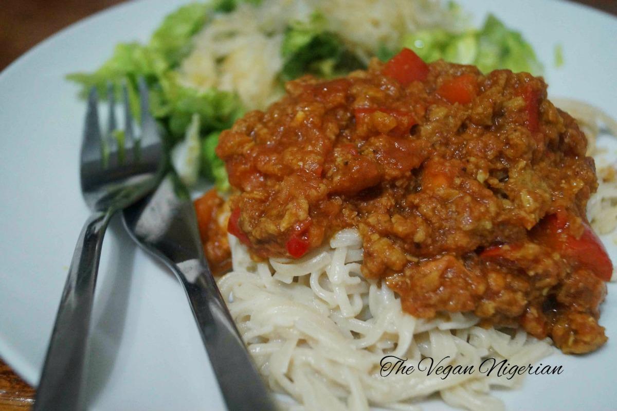 Brown Rice Noodles and Vegan Bolognese [Vegan]