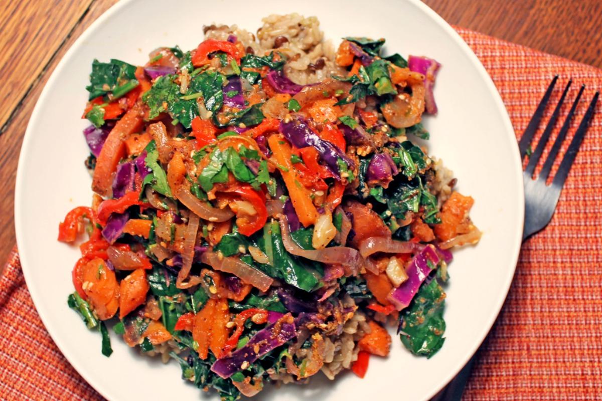 Rainbow Veggie Lentil Fried Rice [Vegan, Gluten-Free]
