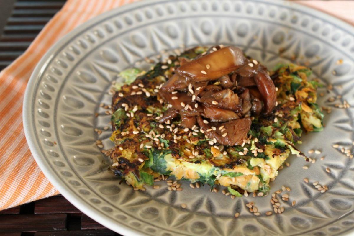 Grain-FreeJapanese Pancakes With Sticky Mushrooms [Vegan, Gluten-Free]