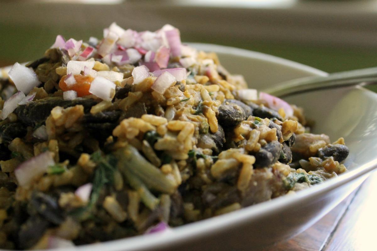 Black Bean Onion Pilaf [Vegan, Gluten-Free]