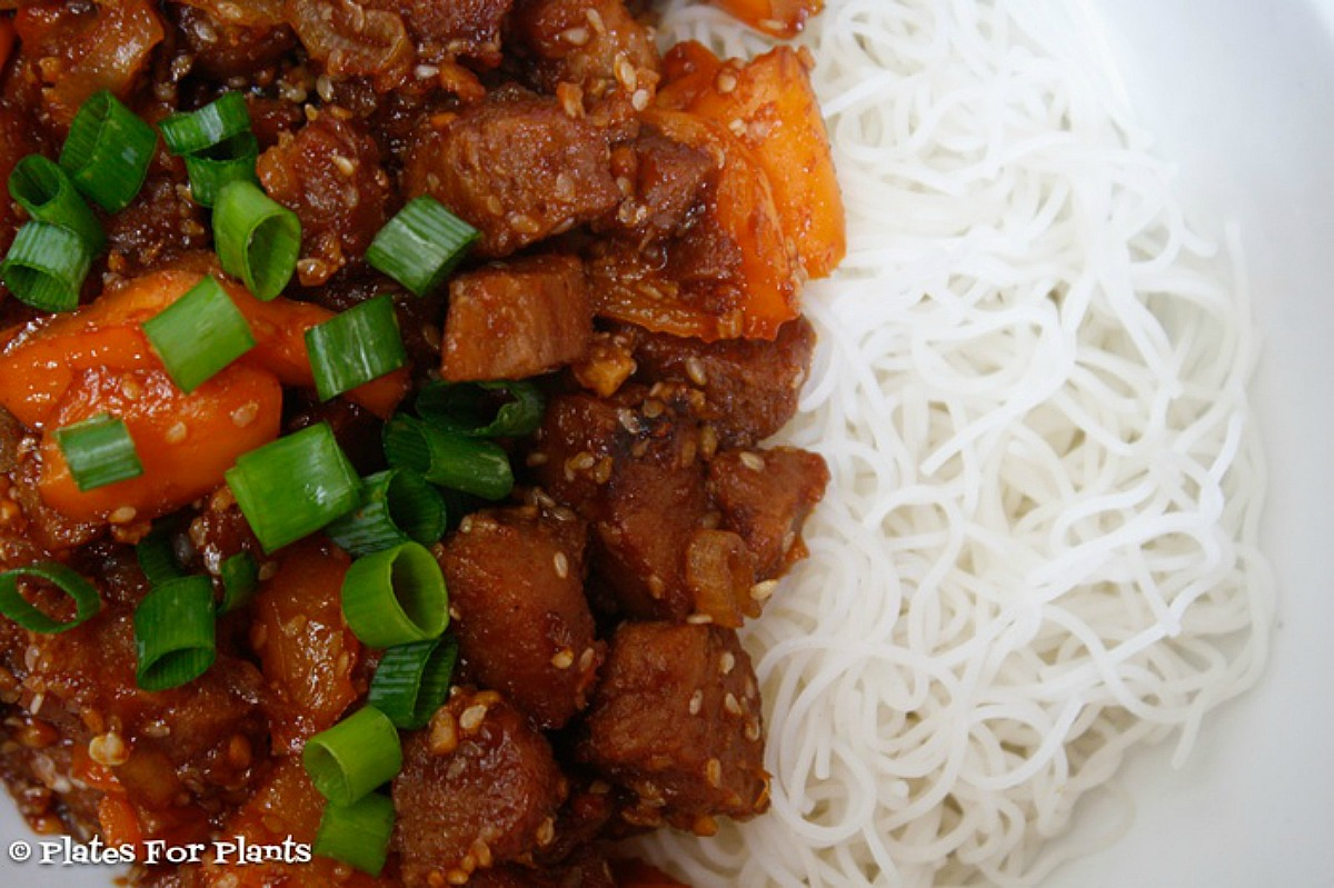 Sweet and Spicy Vegan Pork