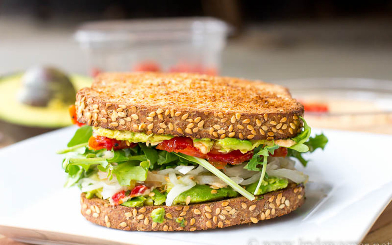 Hummus, Avocado, and Sun-Dried Tomato Sandwich