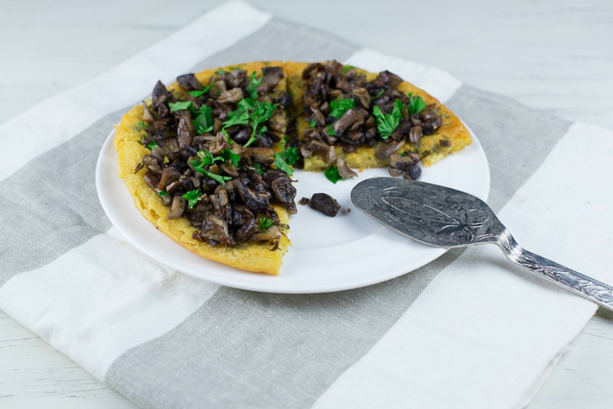 Thyme Socca With Bluefoot Mushrooms [Vegan, Gluten-Free]