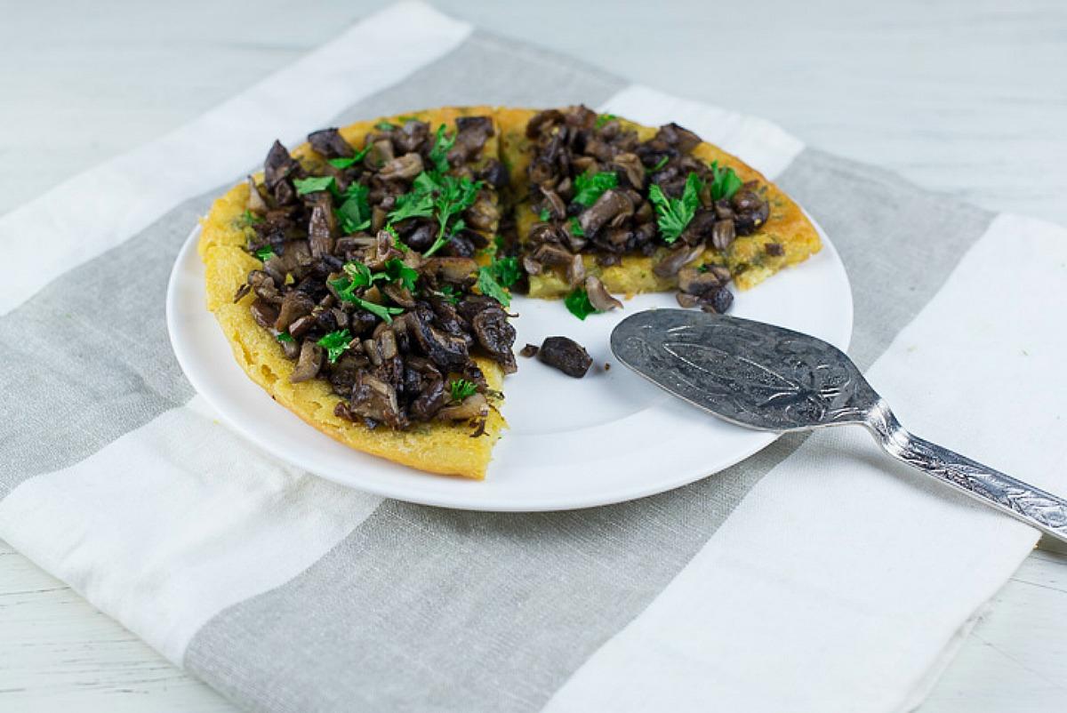Thyme Socca With Bluefoot Mushrooms [Vegan, Gluten-Free]