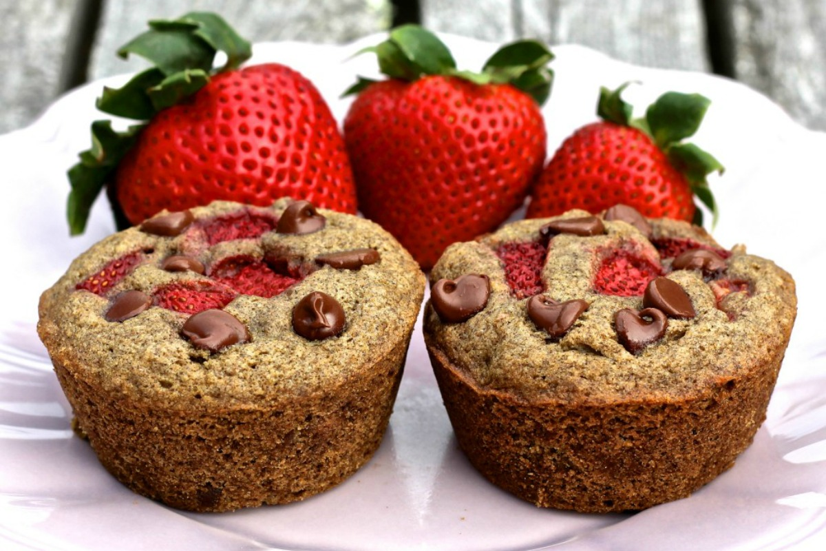 Vegan Strawberry Chocolate Chip Buckwheat Muffins
