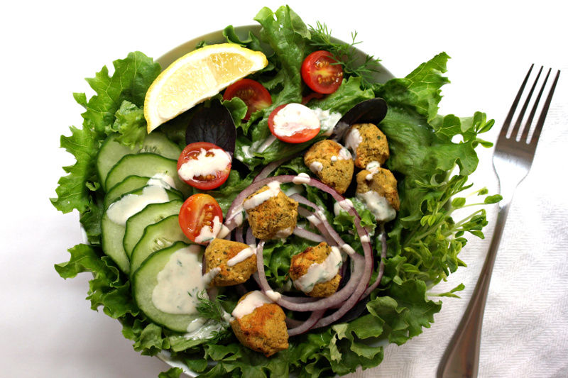 Baked Falafel Salad and Two Creamy Dressings