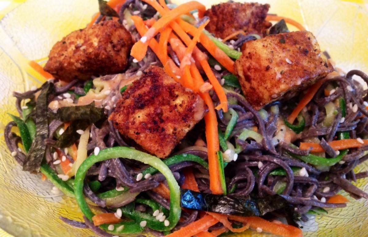 Pan Fried Tofu with Zucchini Carrot and Black Bean Sesame Noodles