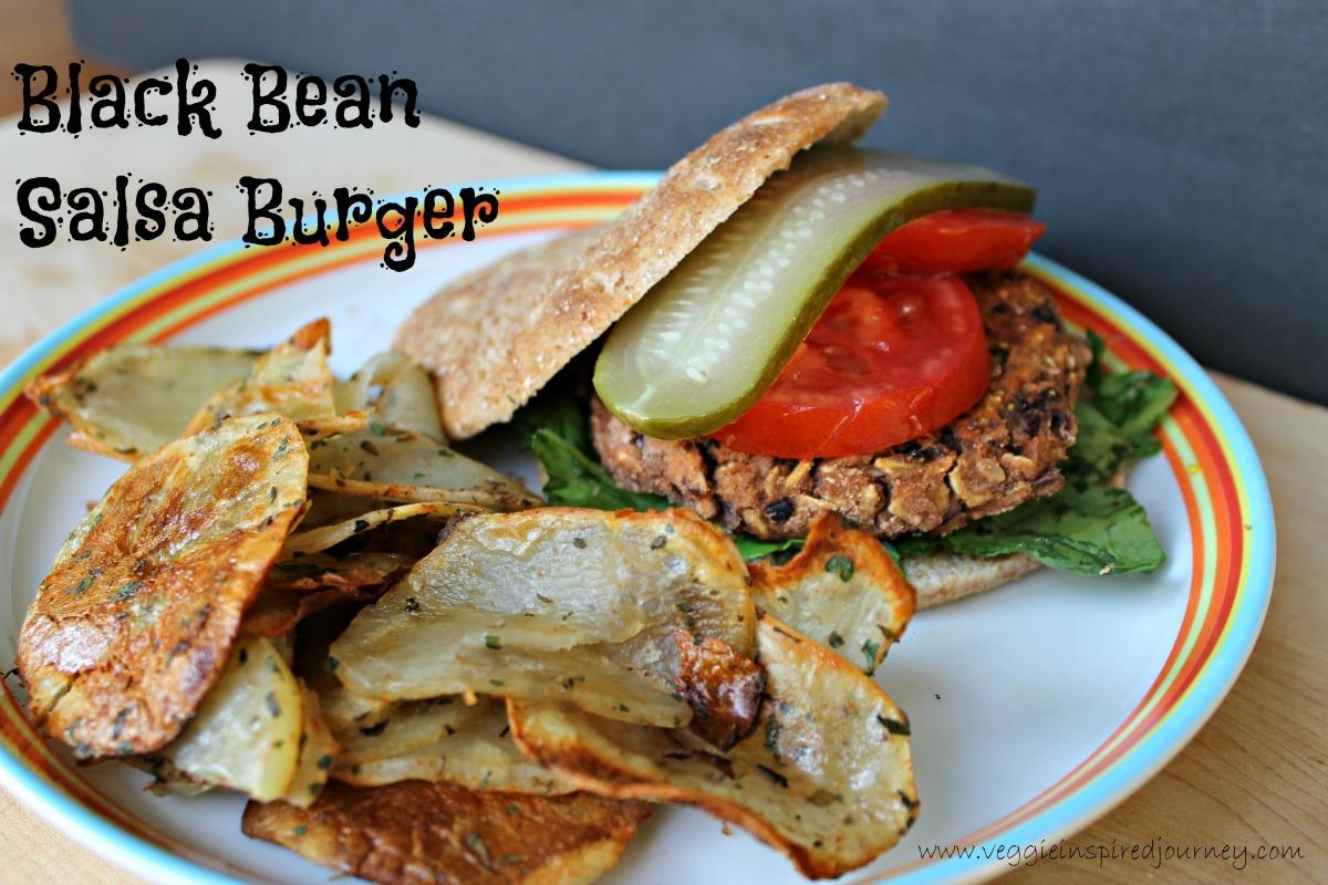 Black Bean Salsa Burger and Crispy Potato Rounds [Vegan]