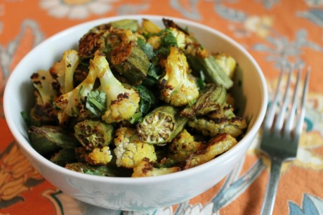 Crispy Spiced Cauliflower and Okra