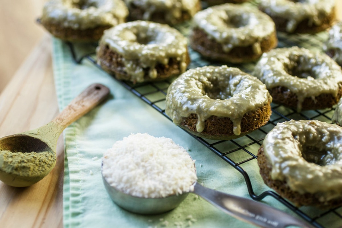 Vegan Green Tea Donuts With Crunchy Coconut Glaze