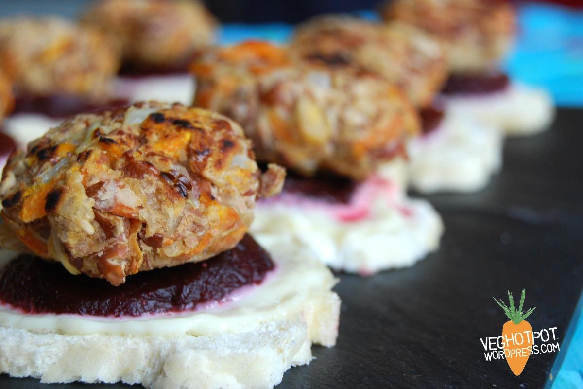 Walnut Falafel Sliders With Pickled Beet and Lemon Mayo [Vegan]