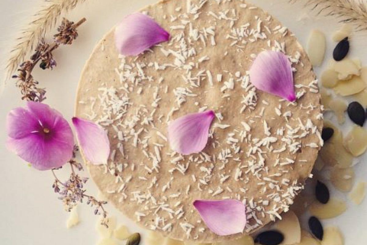 Raw Lemon and Baobab Cheesecake With Mesquite Caramel Topping [Vegan, Gluten-Free]