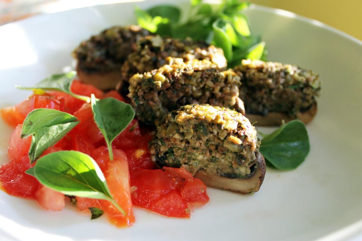 Pumpkin Seed Pesto Stuffed Mushrooms [Vegan, Gluten-Free]