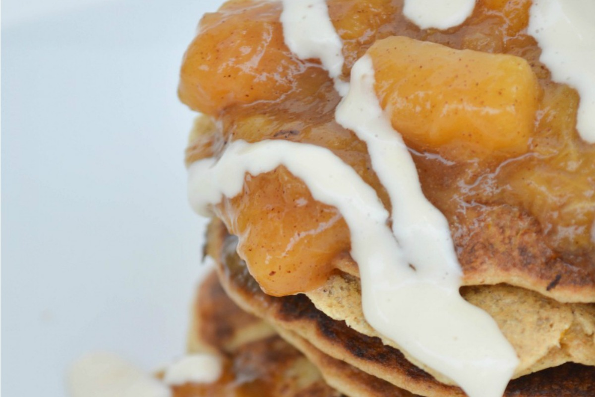 Peaches and Cream Pancakes [Vegan, Gluten-Free]
