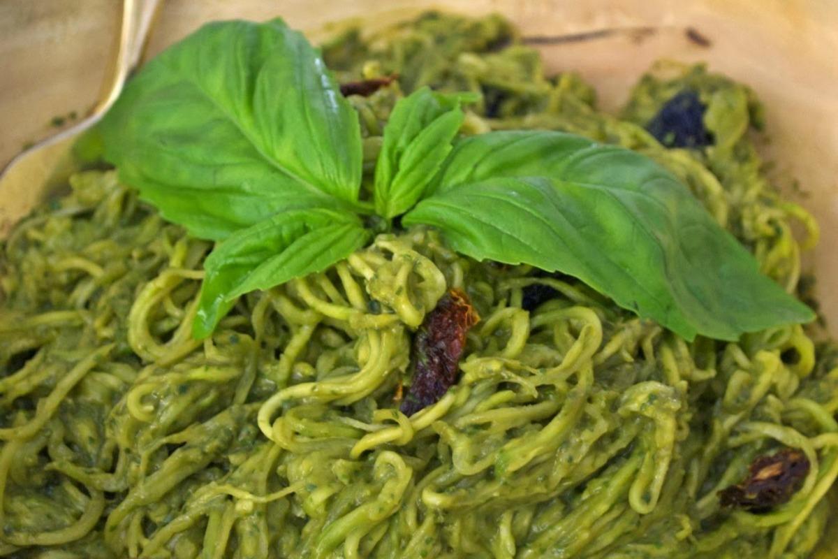 Avocado Herb Pesto With Zoodles [Vegan, Gluten-Free]