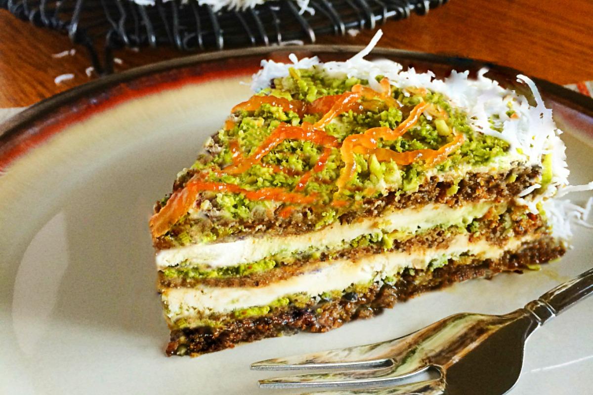 Passion Fruit Matcha Coconut Layered Cake [Vegan]