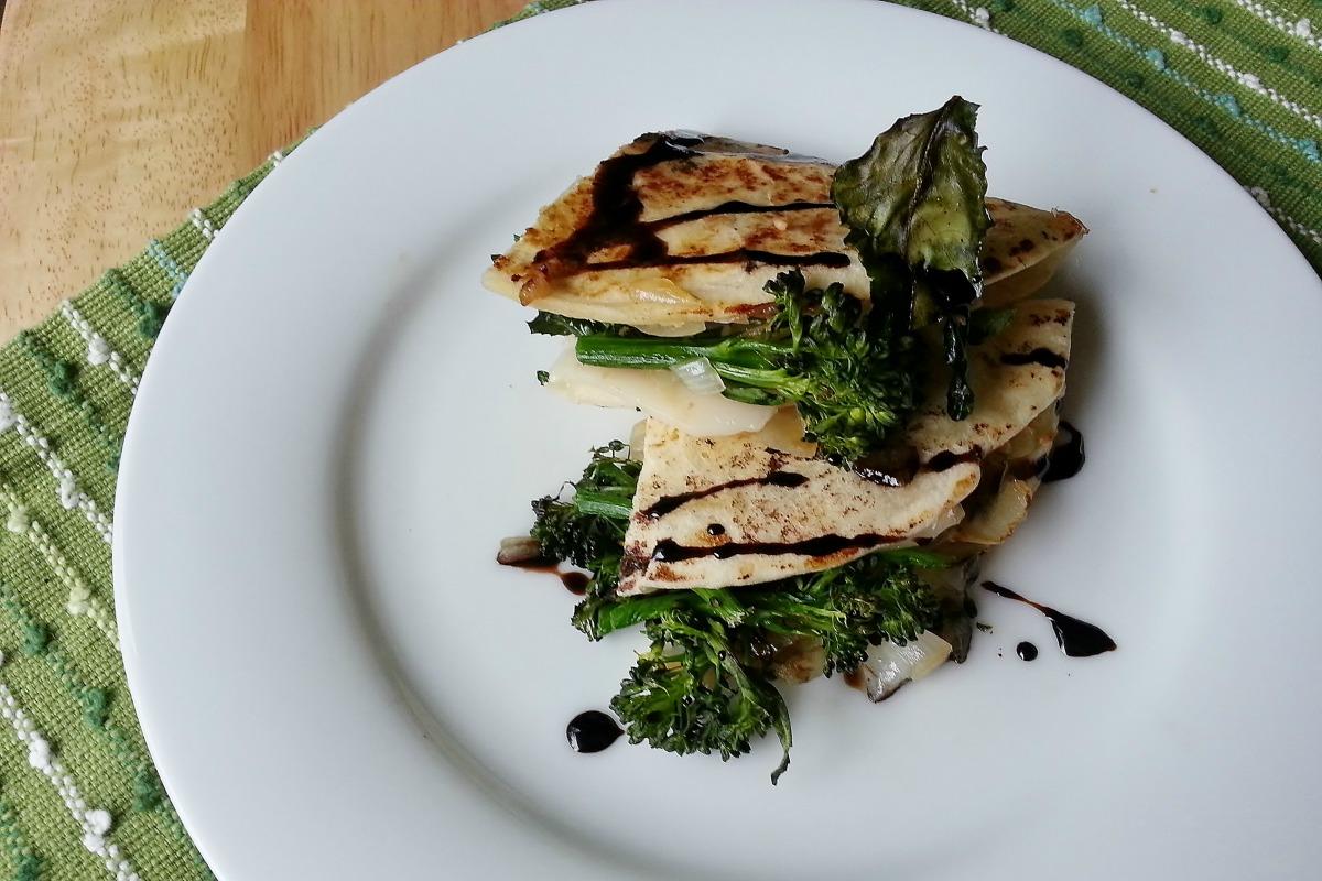 Roasted Broccolini and Balsamic Quesadillas [Vegan]