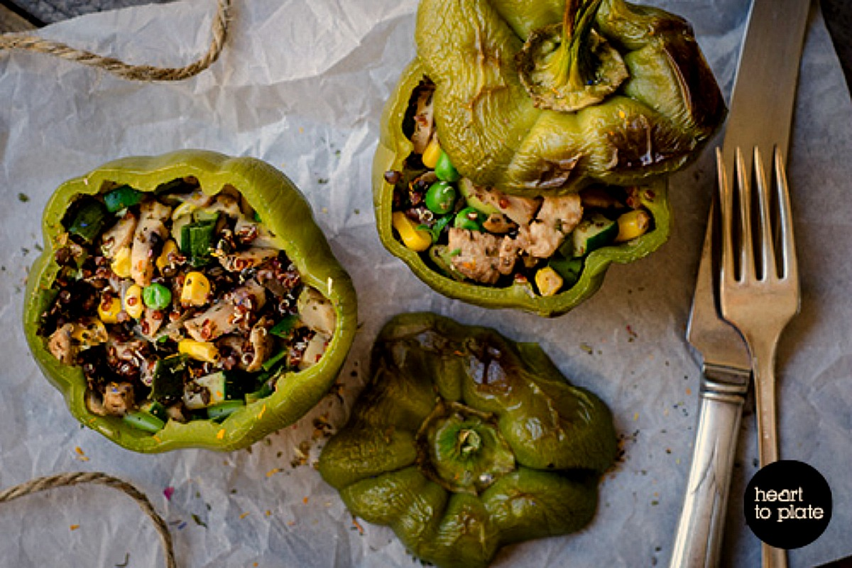High-protein Stuffed Lentil, Quinoa and Mushroom Peppers