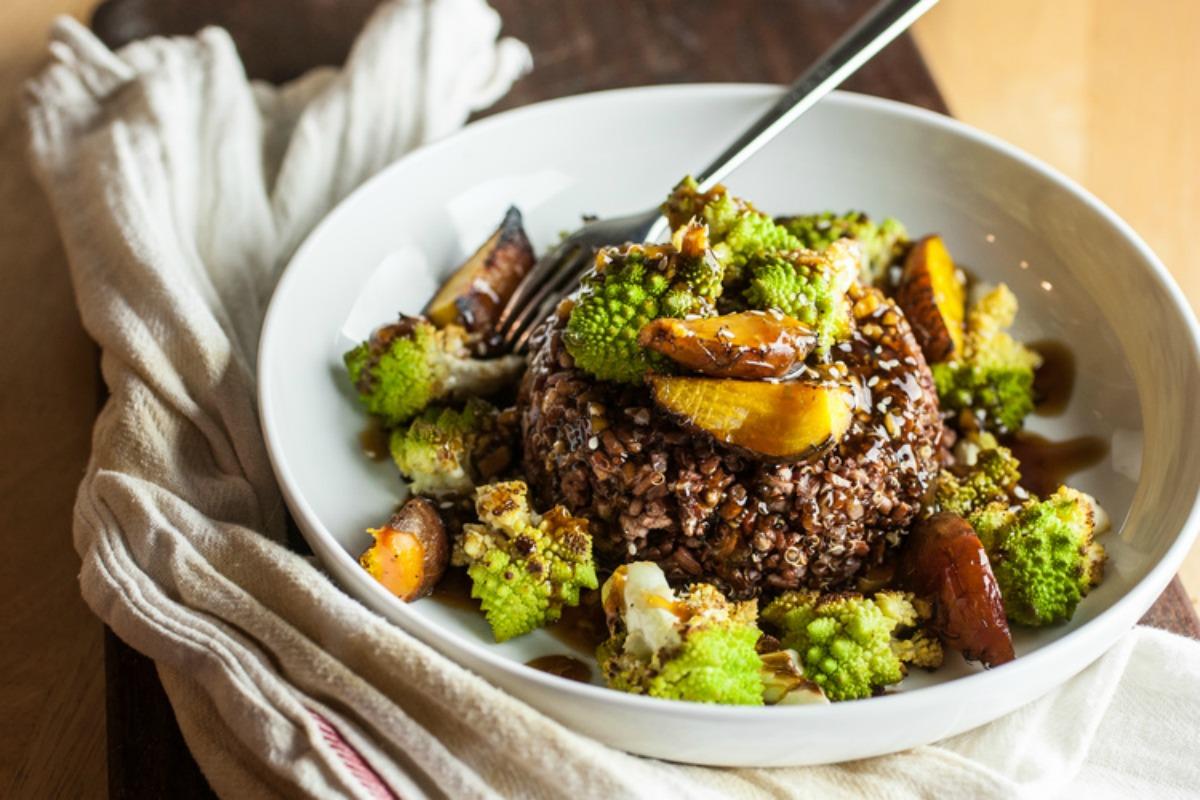 Teriyaki Romanesco and Beet Bowl [Vegan, Gluten-Free]