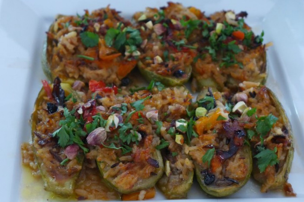 Stuffed Zucchini With Middle Eastern and Sicilian Flavors [Vegan, Gluten-Free]