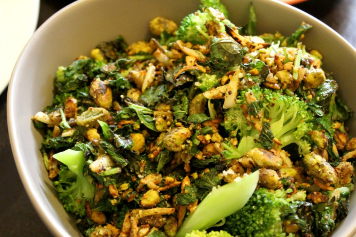 Blanched Broccoli With Fresh Herbs and Pistachios [Vegan, Gluten-Free]