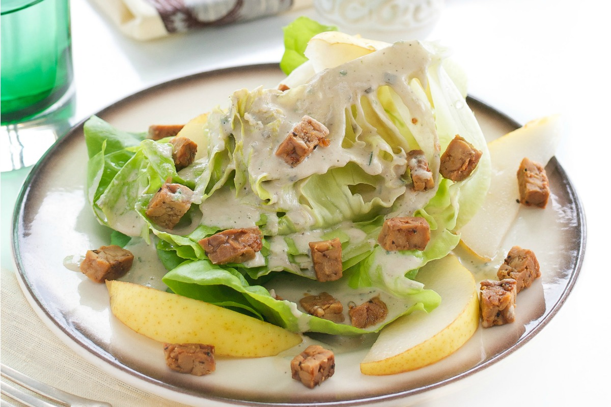 Butter Lettuce Wedges With Sunflower Seed Dressing, Pears and Tempeh Bacon [Vegan, Gluten-Free]