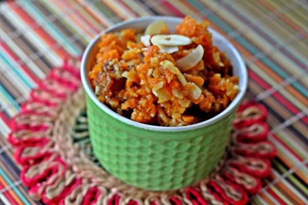 Khajur Gajar Halwa (Carrot and Date Pudding With Coconut and Cardamom)