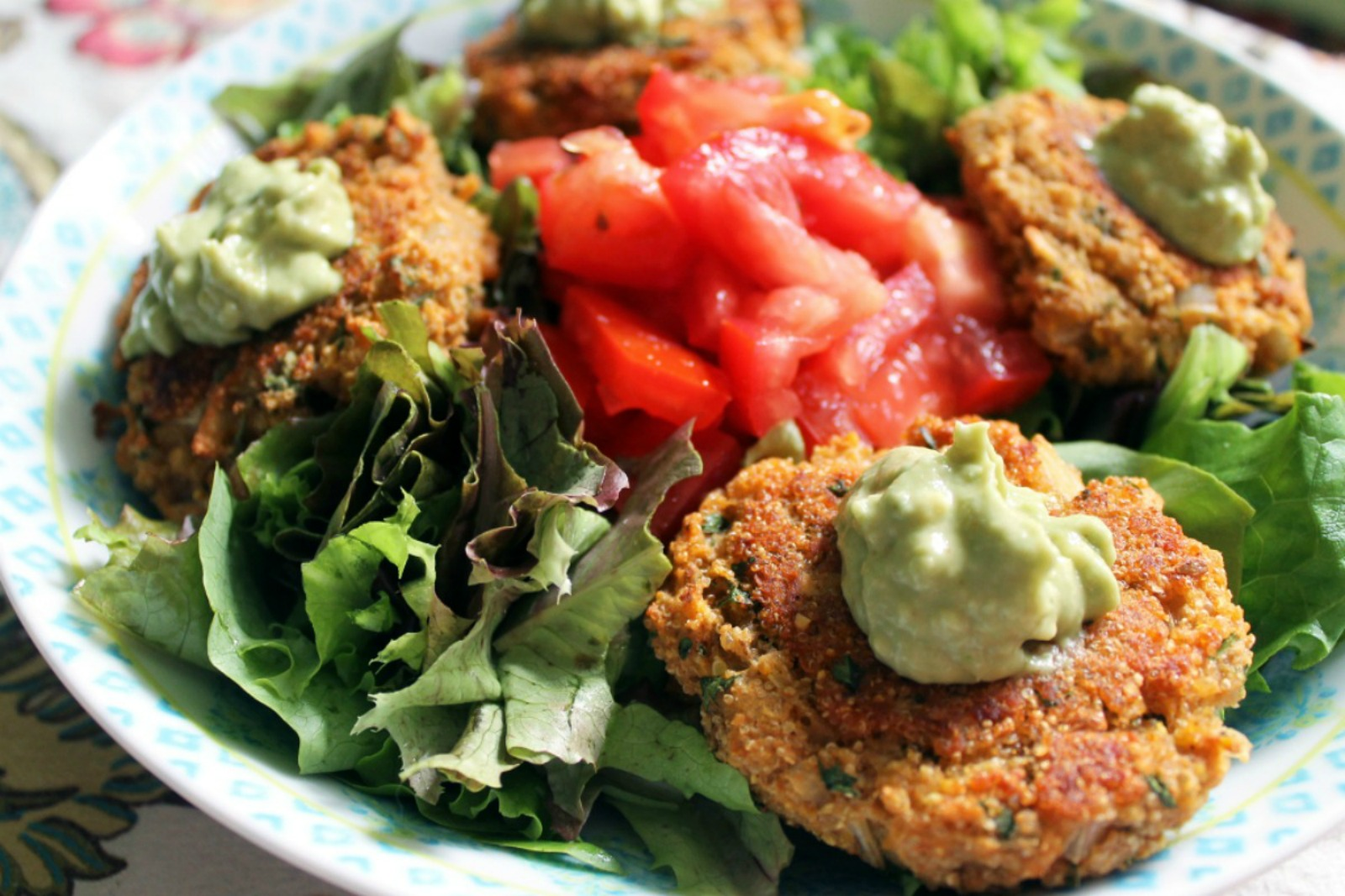 Red Lentil and Amaranth Protein Patties With Spicy Avocado Mayo