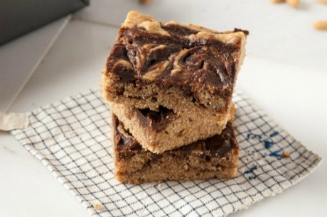 Vegan Peanut Butter and Nutella Bourbon Blondies