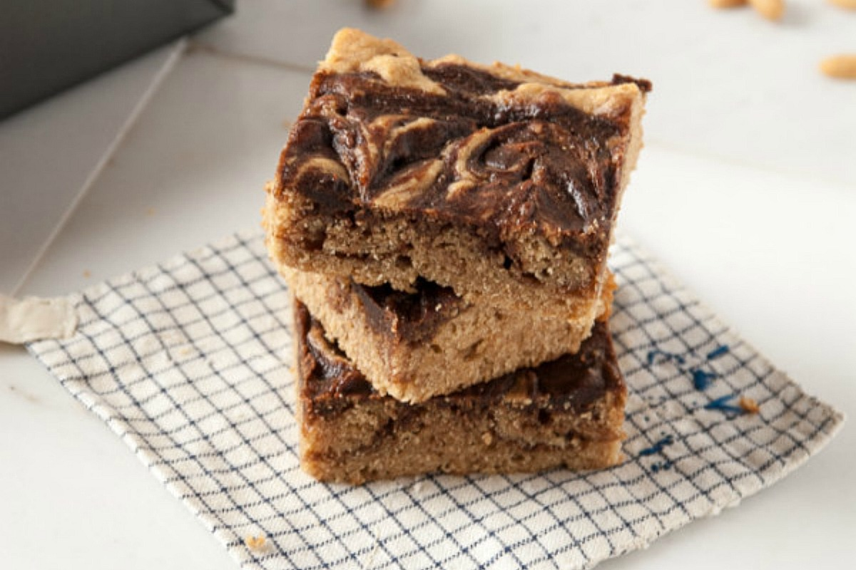 Vegan Peanut Butter and Nutella Bourbon Blondies