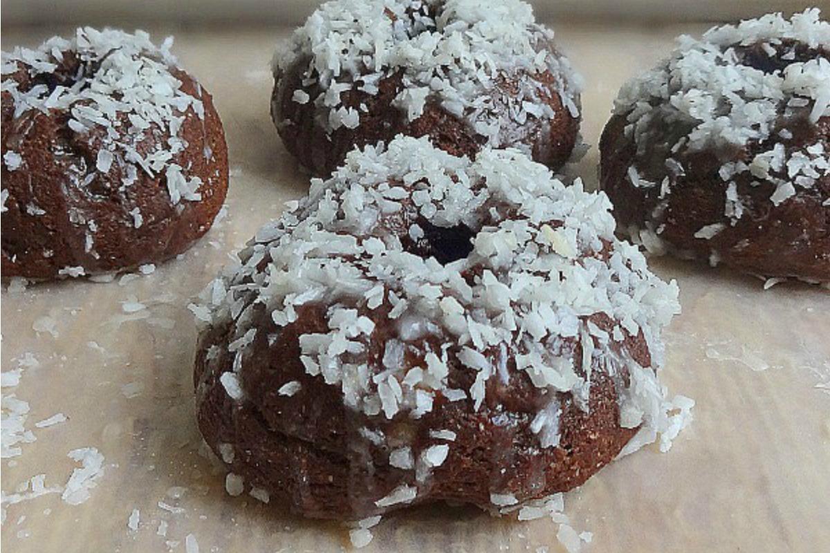 Fudgy Coconut Glazed Mini Donuts [Vegan]
