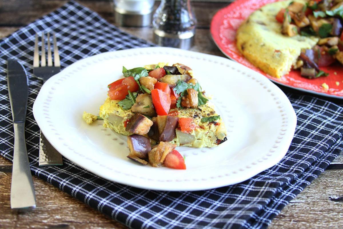 Tofu Frittata With Smoky Eggplant Salsa [Vegan, Gluten-Free]