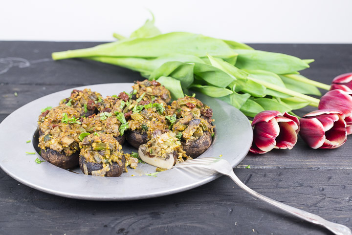 Stuffed Mushrooms With Lemony Asparagus and Pistachios [Vegan, Gluten-Free]