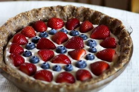 Red white and blue cashew cream pie