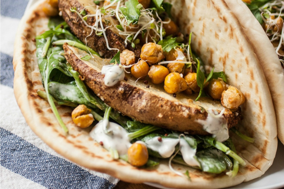 Ranch Pitas With Roasted Potatoes and Chickpeas [Vegan]