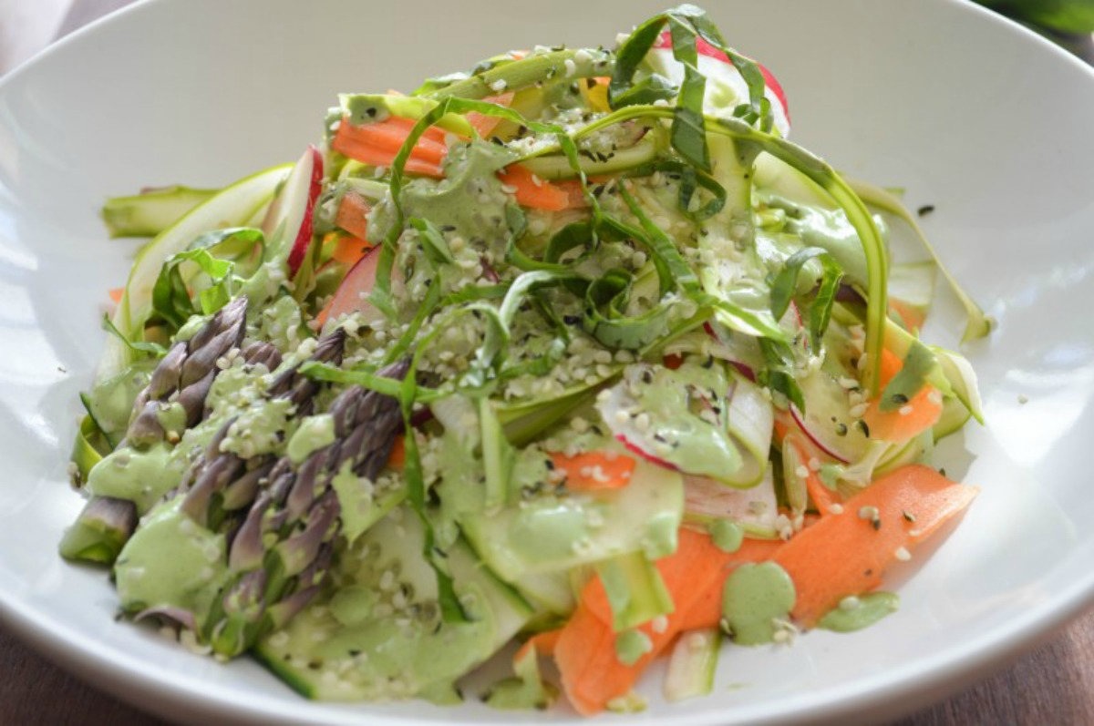 Hippie Goddess Salad Dressing and Shaved Spring Salad [Vegan, Gluten-Free]